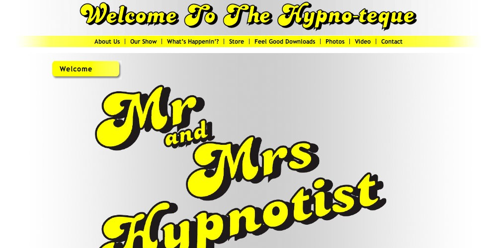 Screenshot of new Mr and Mrs Hypnotist website