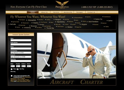 The new Presidential Air home page