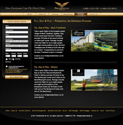 "The ""Fly & Golf"" page after the overhaul."
