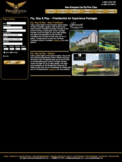 "The ""Fly & Golf"" page before the overhaul."