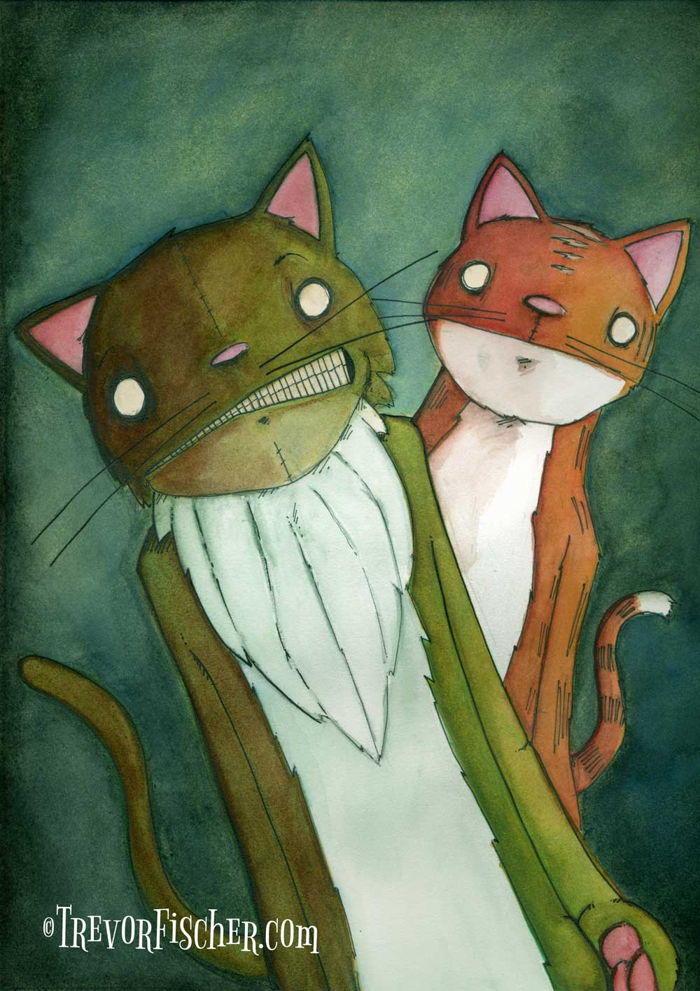 Water colour picture of cats in a goth sort of style