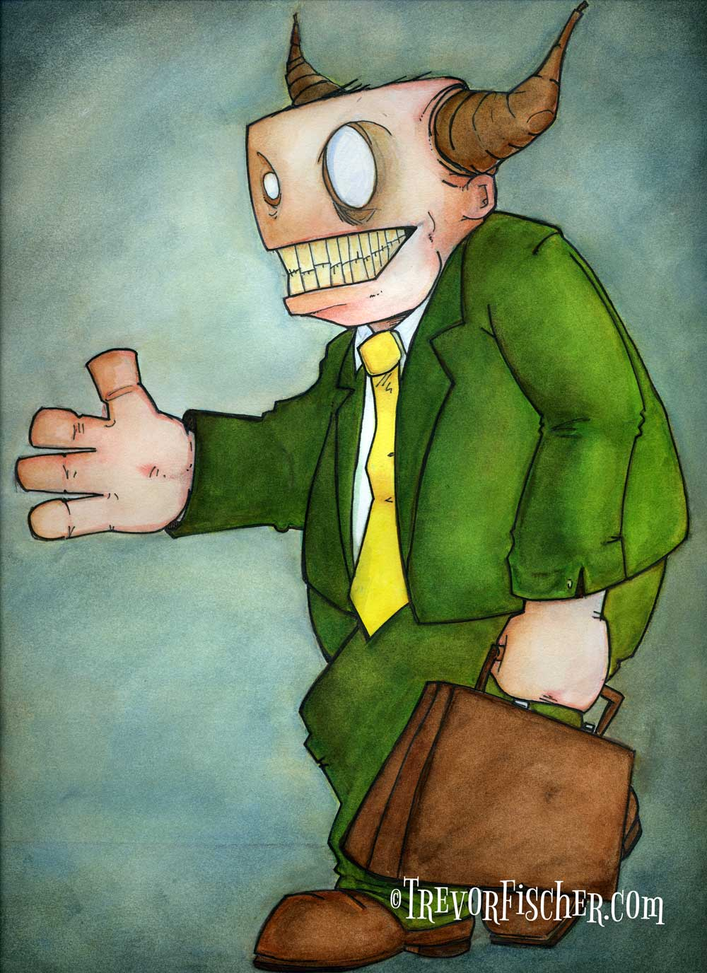 Painting of a monster in a suit extending his hand to shake