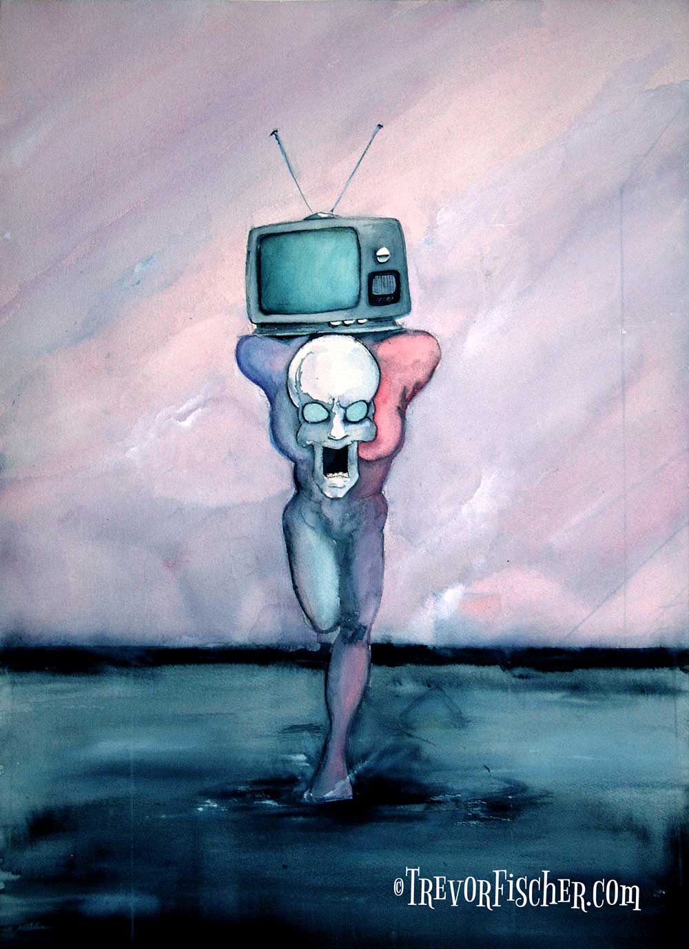 A skeletal figure with a TV on its back running at the viewer